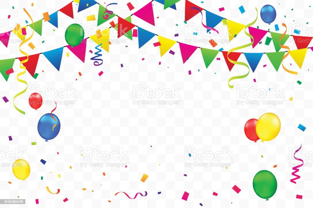 Colorful party flags with confetti and balloon falling on transparent background vector