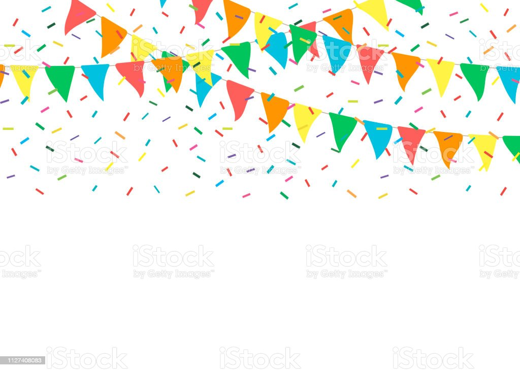 Colorful Party Flags With Confetti Celebrate Flags Party ...