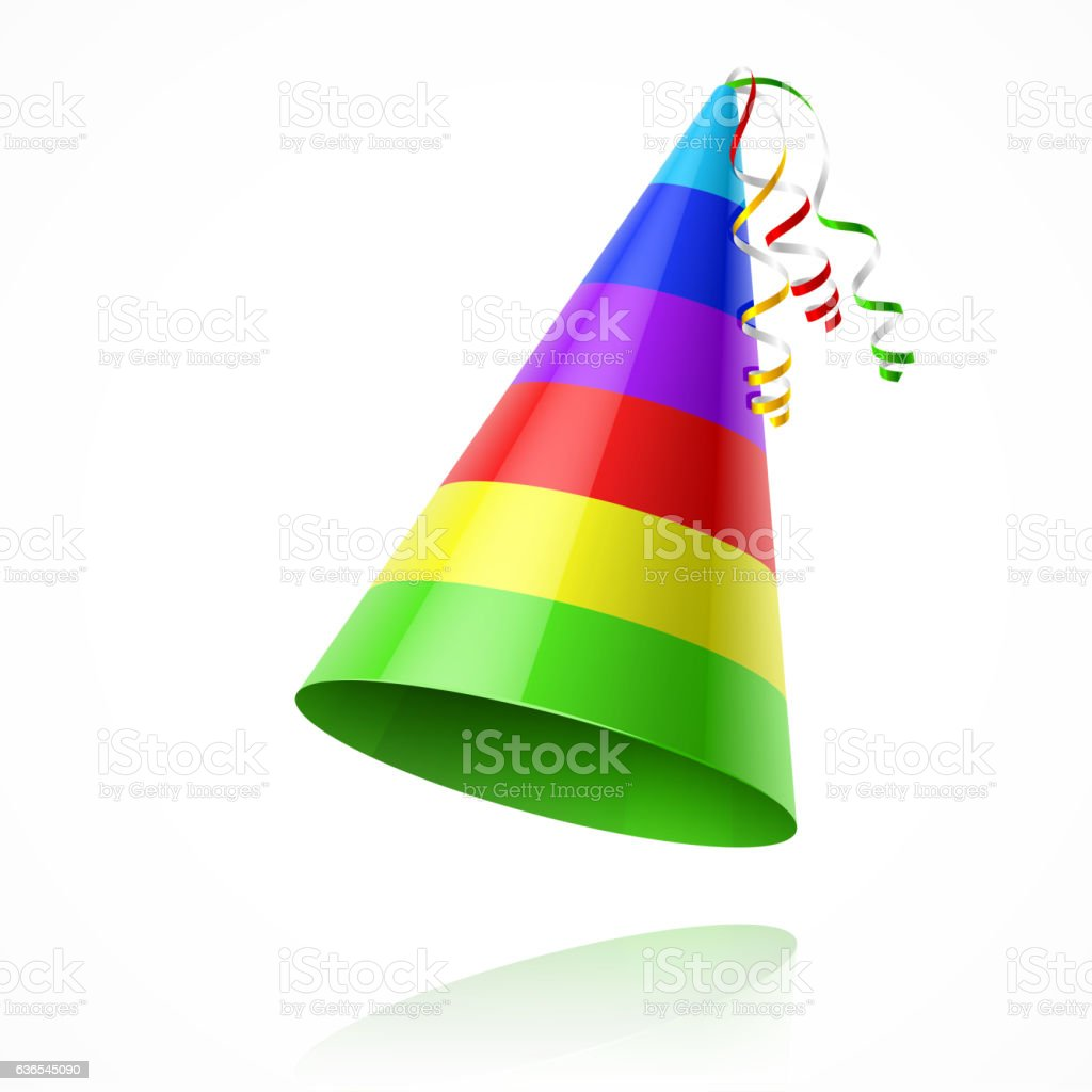 Colorful party hat vector art illustration