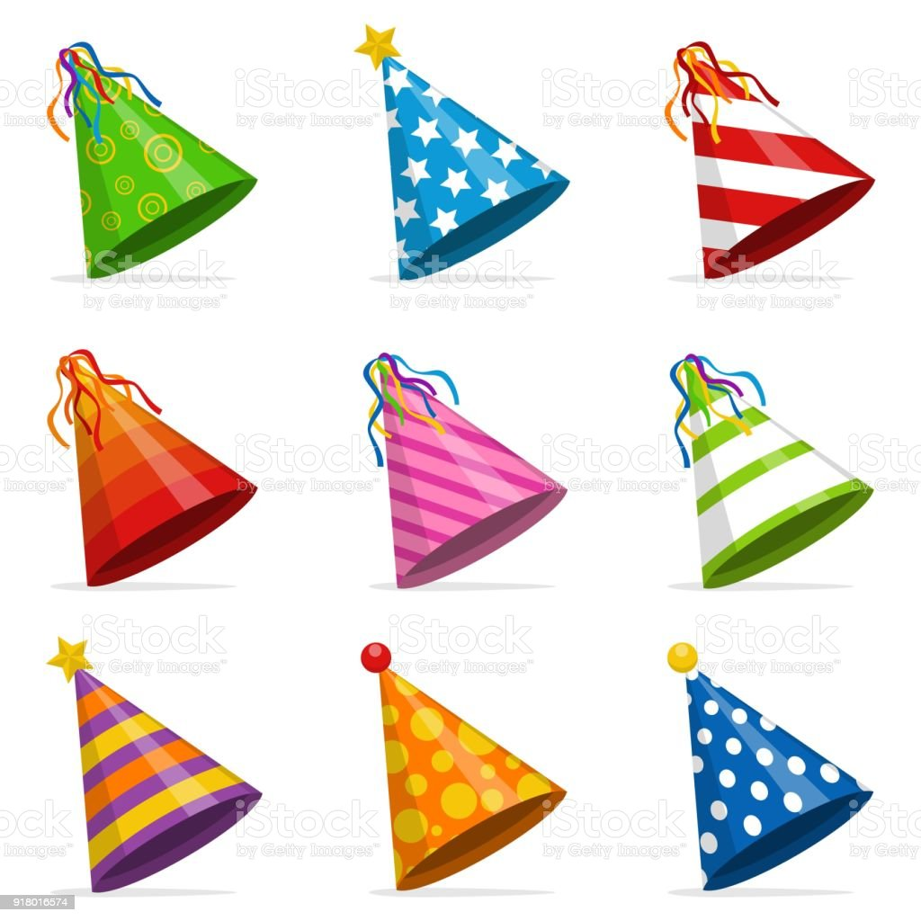 Colorful Party hats cone set isolated on white background. Accessory, symbol of the holiday. Birthday caps set. Vector illustration vector art illustration