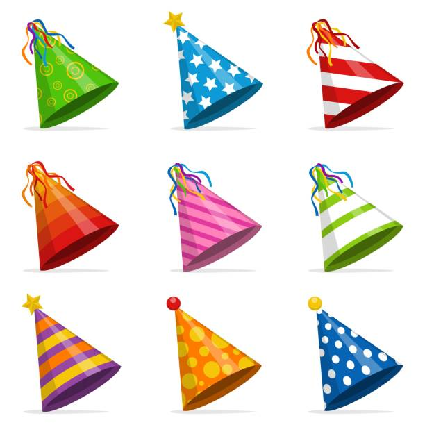 colorful party hats cone set isolated on white background. accessory, symbol of the holiday. birthday caps set. vector illustration - anniversary clipart stock illustrations