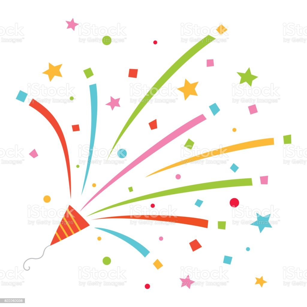 Colorful party popper vector art illustration