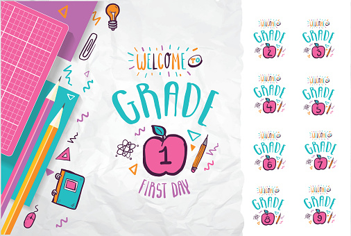 Colorful pastel Back to School lettering design with hand drawn educational symbols and icons