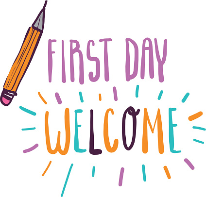 Colorful pastel First Day Welcome Back to School lettering design with hand drawn educational symbols and icons