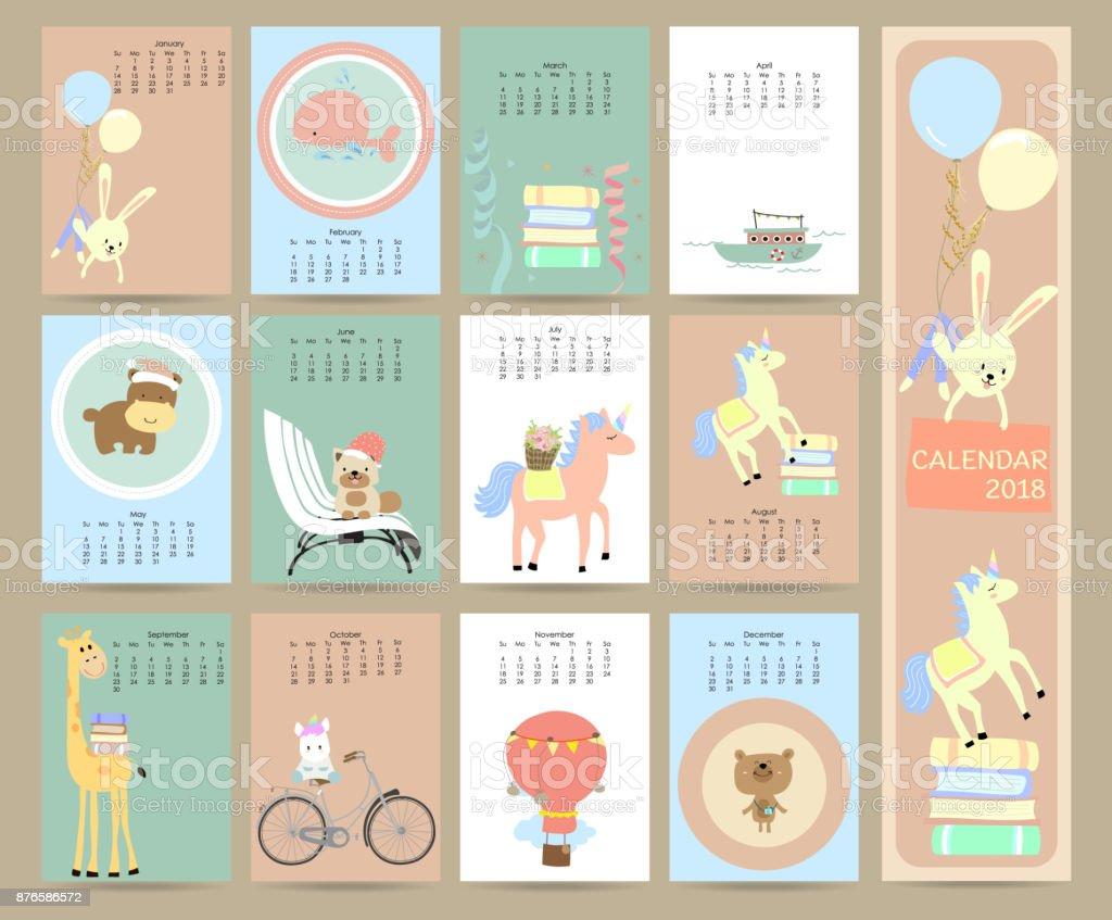 Colorido pastel mensual calendario 2018 con conejo, ballena, libro, embarcación, unicone, globo, bicicleta, oso, jirafa, perro e hipopótamo. Puede ser utilizado para web, banner, cartel, etiquetas y para imprimir - ilustración de arte vectorial
