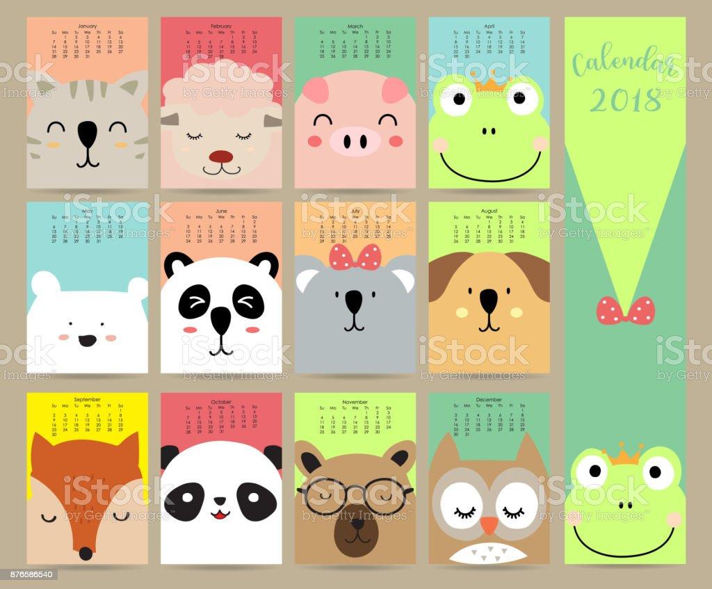 Colorido pastel mensual calendario 2018 con gato, oveja, cerdo, rana, oso, panda, perro, zorro y el búho. Puede ser utilizado para web, banner, cartel, etiquetas y para imprimir - ilustración de arte vectorial