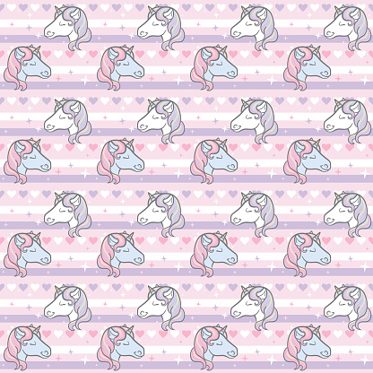 Colorful pastel unicorn background pattern, girly vector repeat.