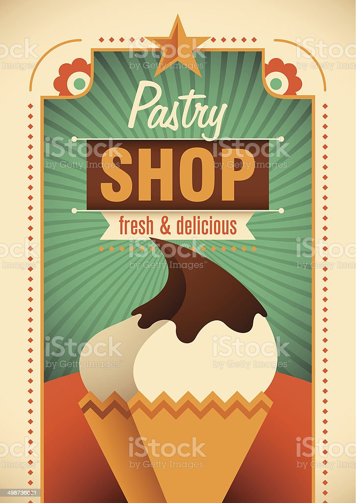 Colorful pastry shop poster. royalty-free stock vector art