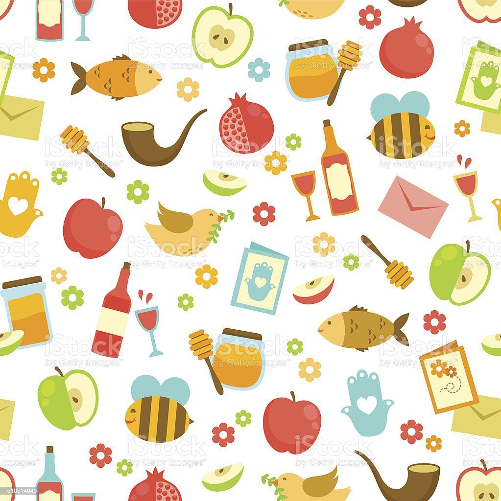 colorful pattern for Rosh Hashanah vector art illustration