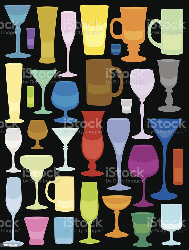 A colorful pattern made up of stylistic mug and glass shapes royalty-free stock vector art