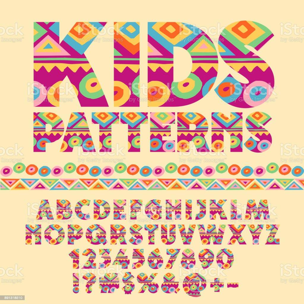 Vector patrón colorido alfabeto para niños - ilustración de arte vectorial