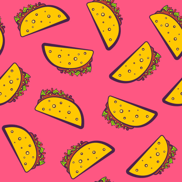 Colorful pattern with cute cartoon mexican taco Colorful seamless pattern with cute cartoon mexican taco on pink background. Comic flat girlish pop art tacos texture for fast food textile, wrapping paper, package, restaurant or cafe menu banners female sandwich stock illustrations