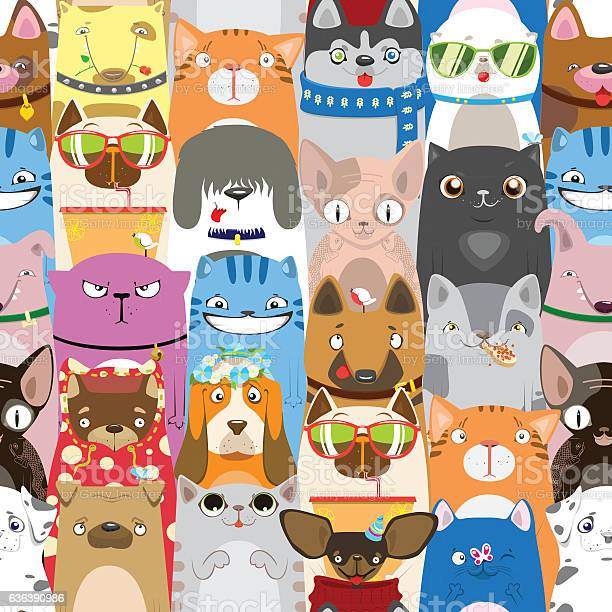 Colorful pattern with funny cats and dogs vector id636390986?b=1&k=6&m=636390986&s=612x612&h=nvixux5gctptrkclqftktenjq6kintz4arjz u9gcgu=
