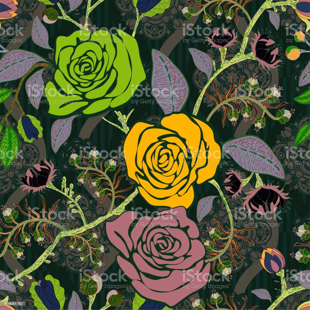 Ilustracion De Patron De Colores Con Rosas Flores Decorativas