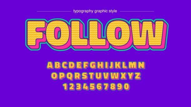 ilustraciones, imágenes clip art, dibujos animados e iconos de stock de colorido patrón amarillo rojo vibrante dibujos animados dibujos animados tipografía - tipos de letra de burbujas