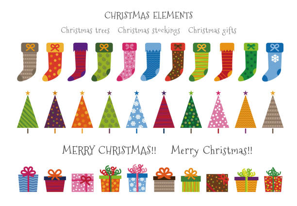 Colorful patterned Christmas trees, gifts and stockings Christmas elements Colorful patterned Christmas trees, gifts and stockings Christmas elements illustration christmas stocking stock illustrations