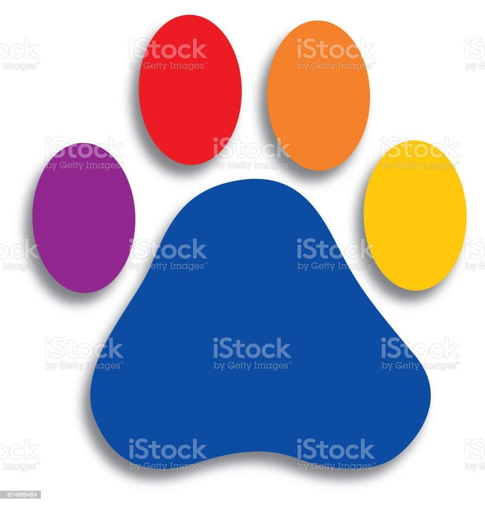 Colorful Paw Print vector art illustration