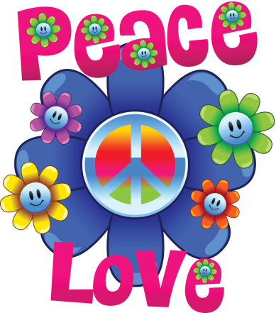 Colorful peace and love illustration with flowers