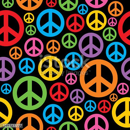istock Colorful Peace Signs Seamless Pattern 1273733777