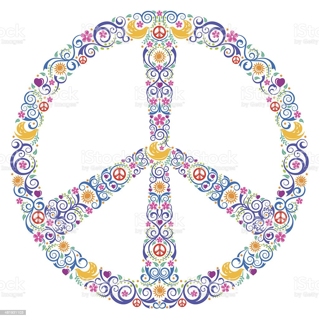 Colorful Peace Symbol vector art illustration