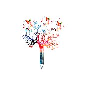 Colorful pencil tree vector illustration with butterflies