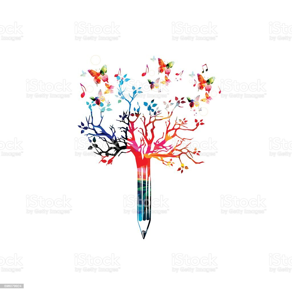 Colorful pencil tree vector illustration with butterflies vector art illustration