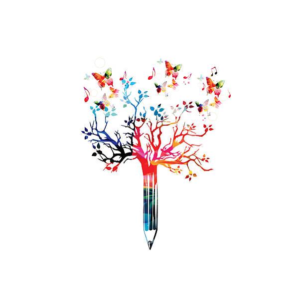 colorful pencil tree vector illustration with butterflies - buchstabenschreibweise stock-grafiken, -clipart, -cartoons und -symbole