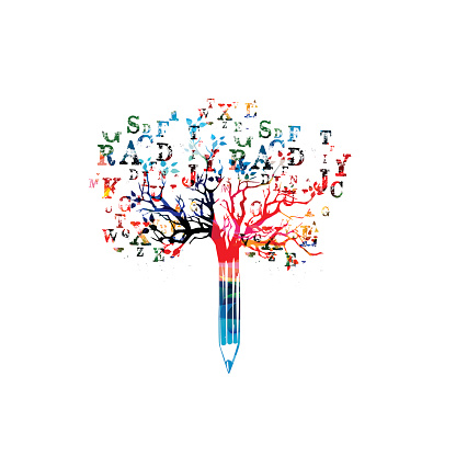 Colorful pencil tree vector illustration with font letters