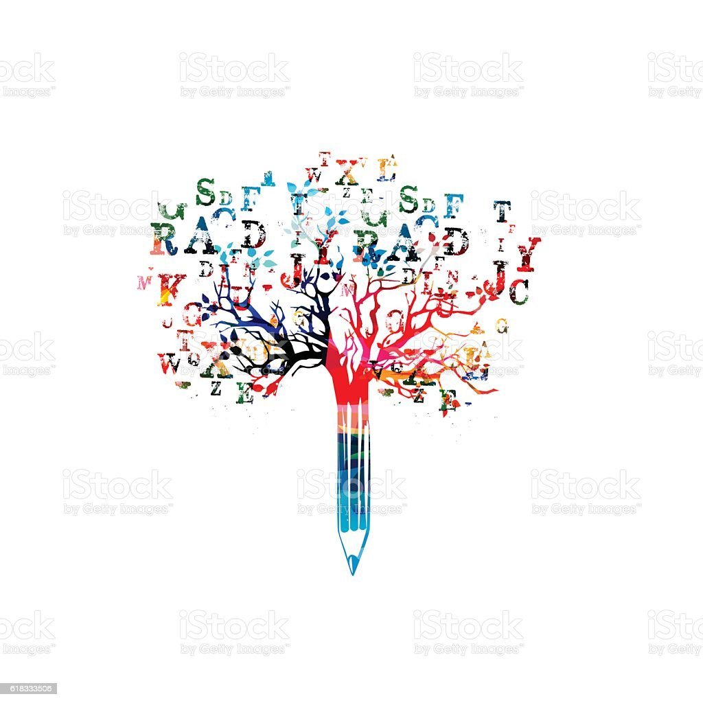 Colorful pencil tree vector illustration with font letters – Vektorgrafik