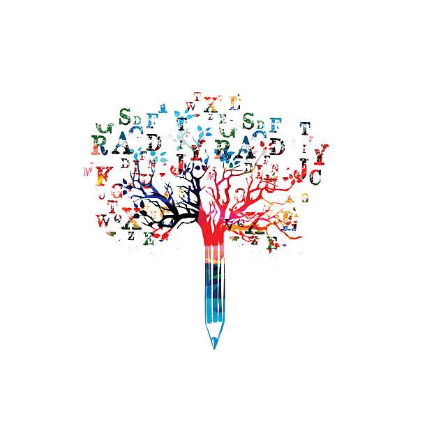 Colorful pencil tree vector illustration with font letters Colorful pencil tree vector illustration with font letters. Typeset design for news, creative writing, storytelling, blogging, education, book cover, article and website content writing, copywriting writing activity stock illustrations