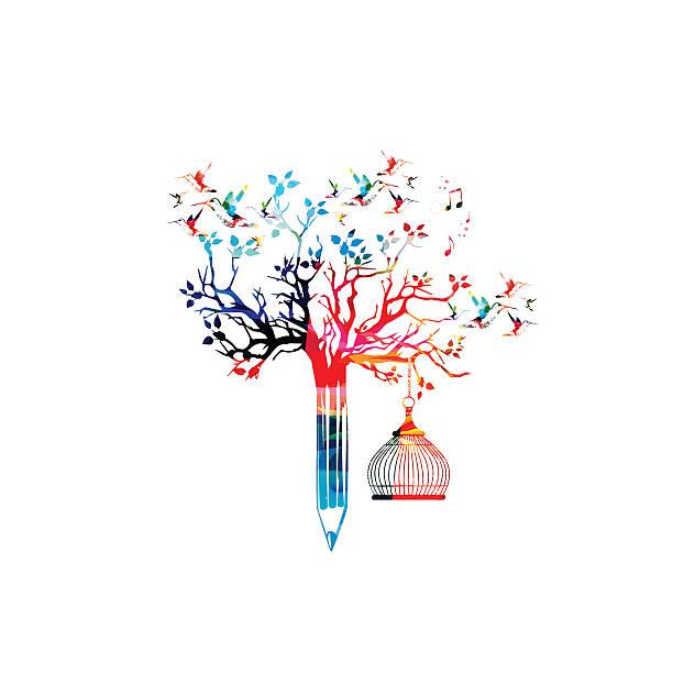 colorful pencil tree vector illustration with hummingbirds - buchstabenschreibweise stock-grafiken, -clipart, -cartoons und -symbole