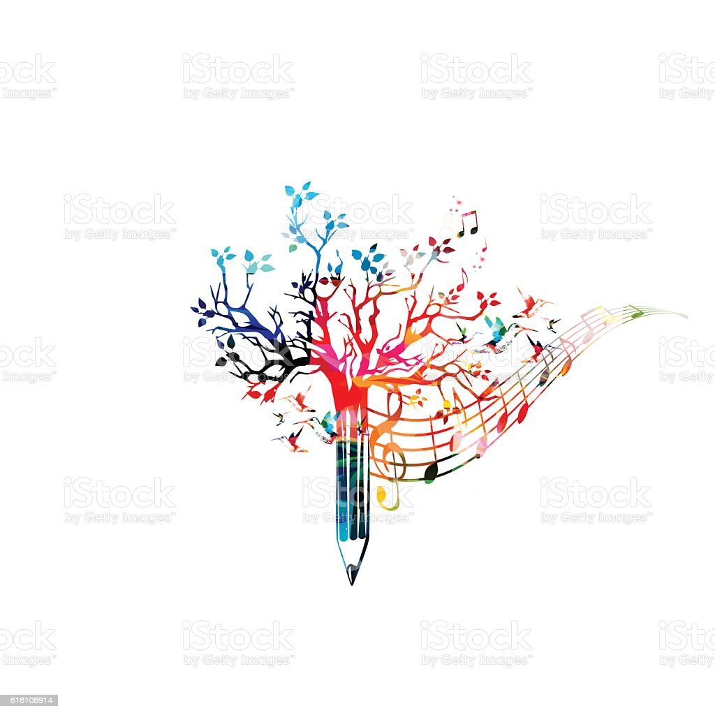 Colorful pencil tree vector illustration with music notes - ilustração de arte em vetor