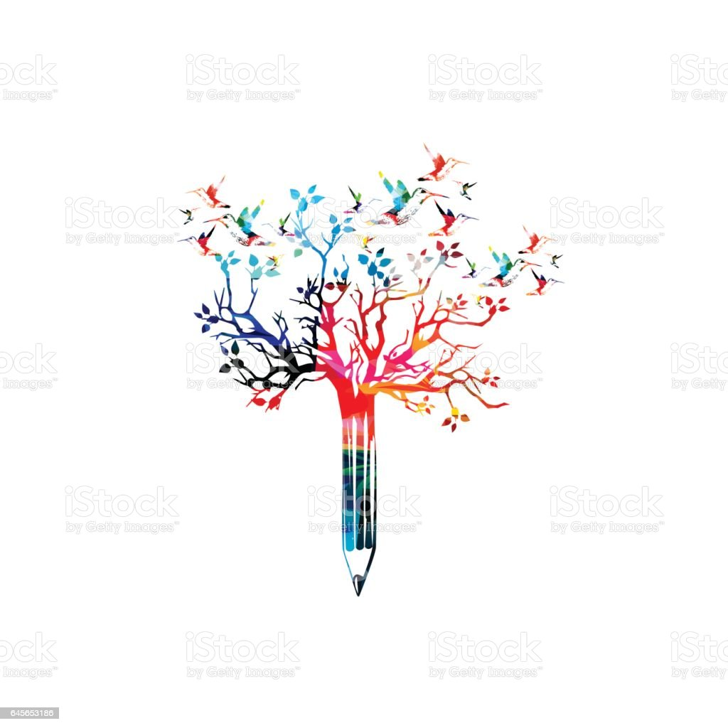 Colorful pencil with treetop vector art illustration