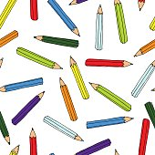 Colorful pencils pattern. Seamless texture with pencil.  Doodle vector elements. Back to school background. Hand drawn sketch.