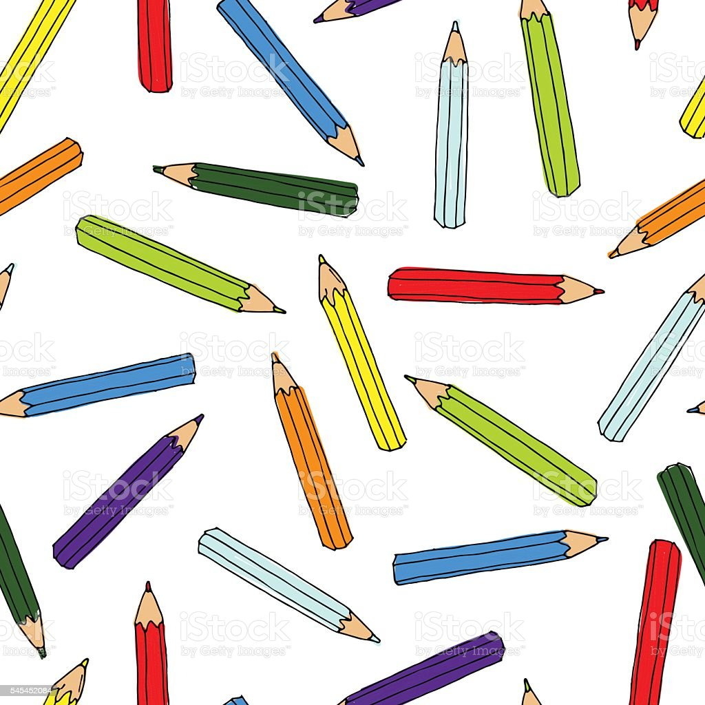 Colorful pencils pattern. Seamless texture with pencil.  Doodle vector art illustration