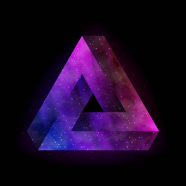 Colorful Penrose tribar Penrose impossible triangle with outer space inside. Vector, eps 10. arcane stock illustrations