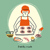 Brunch, teatime, breakfast, bakery hand drawn, cartoon, isolated person icons in retro style