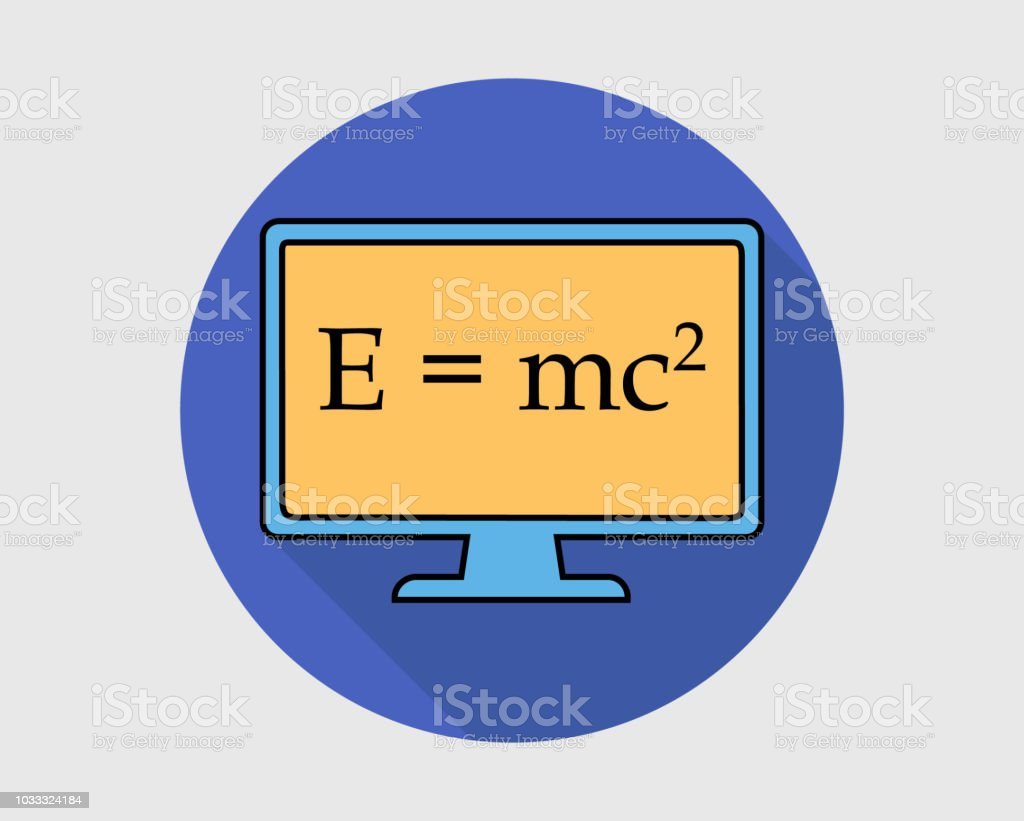 Colorful Physics Icon Emc Square Equation On Computer Screen Stock