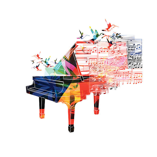 Colorful Piano Design With Hummingbirds Vector Art Illustration