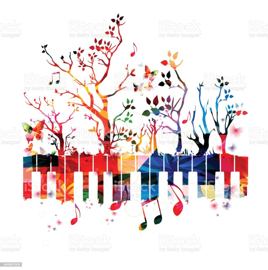 colorful piano keyboard with trees and music notes stock vector art rh istockphoto com Music Notes Background Music Note Clip Art