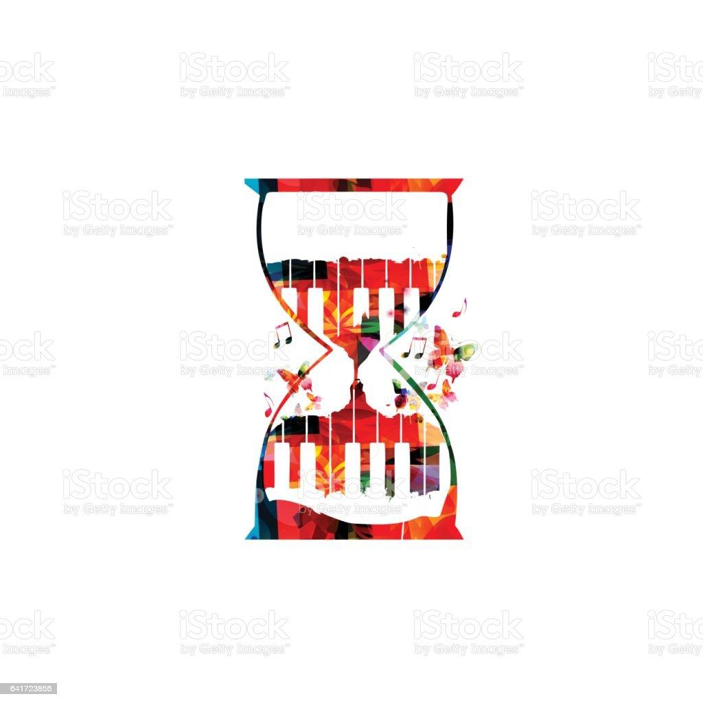 Colorful piano keys inside hourglass vector art illustration
