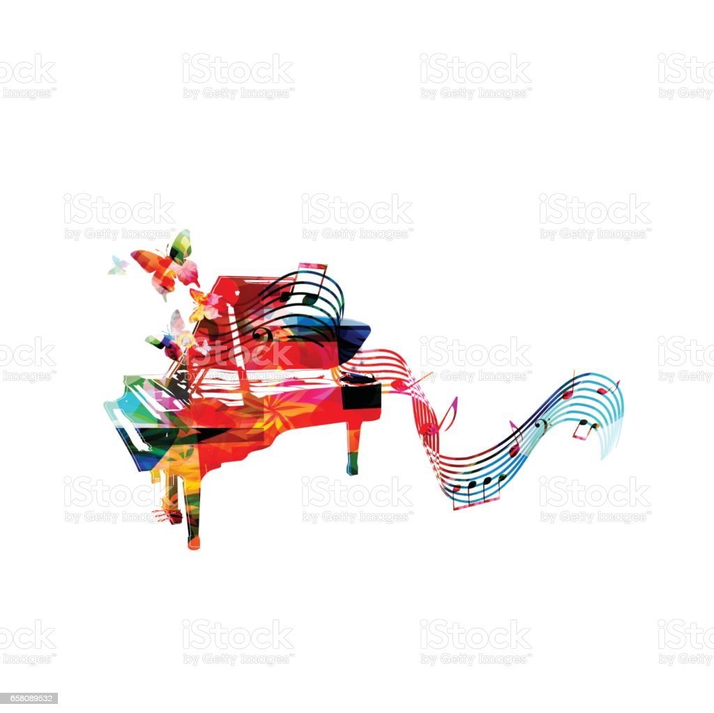 Colorful piano with music notes and butterflies vector art illustration