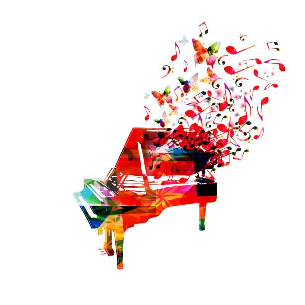 colorful piano with music notes - muzyka poważna stock illustrations