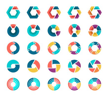 Vector illustration colorful pie chart collection with 2,3,4,5,6 sections or steps.