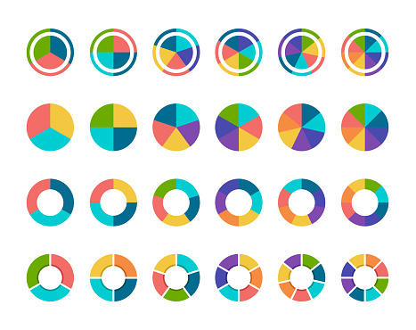 Vector illustration colorful pie chart collection with 3,4,5,6 and 7,8 sections or steps
