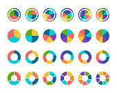 istock Colorful pie chart collection with 3,4,5,6 and 7,8 sections or steps 1313828944