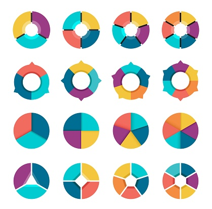 Colorful pie chart collection with 3,4,5,6 sections or steps.