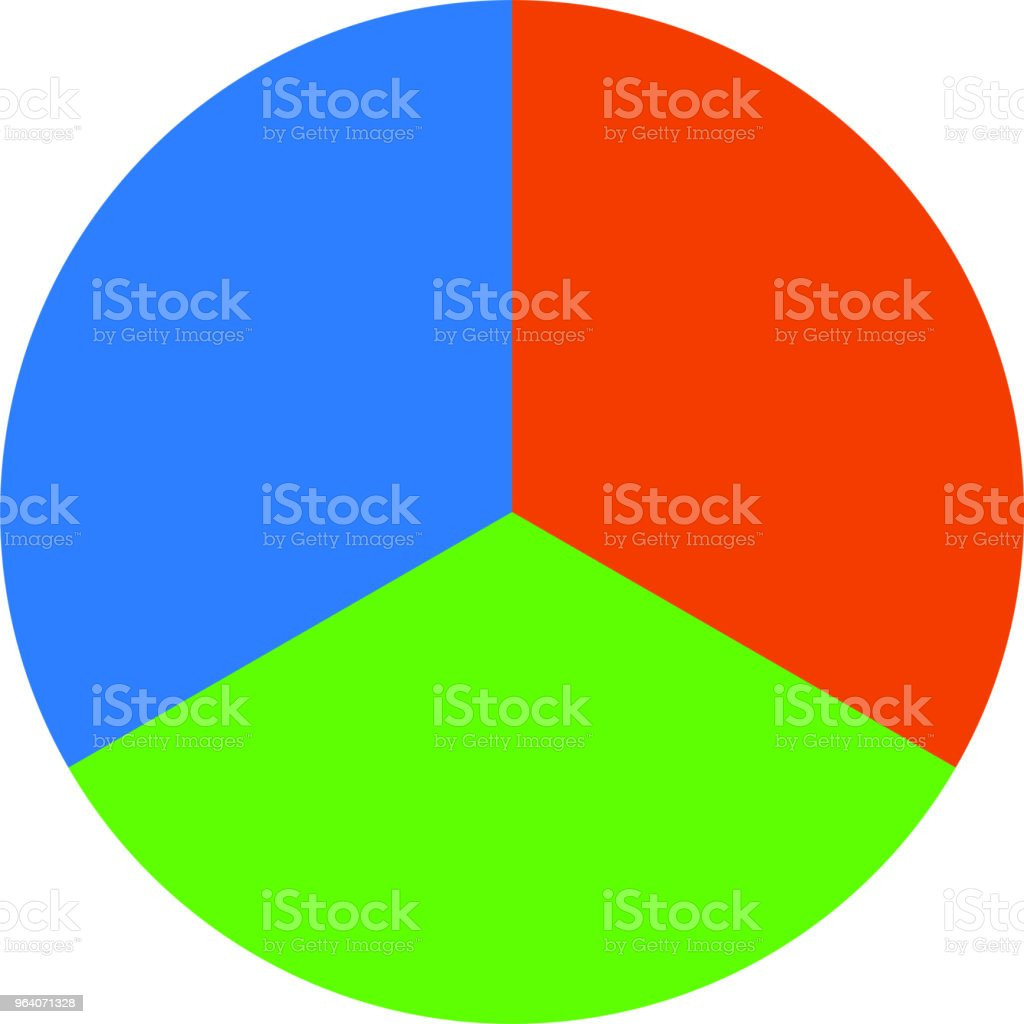 Colorful Pie chart Divided into three - Royalty-free Abstract stock vector