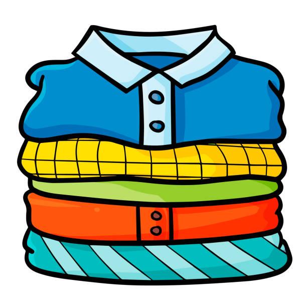ドレスのカラフルな山 - 楽しい 洗濯点のイラスト素材/クリップアート素材/マンガ素材/アイコン素材