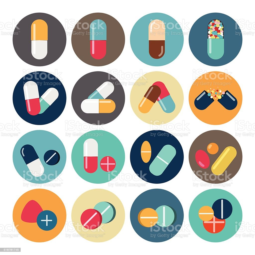 Colorful pills and capsules icon vector art illustration